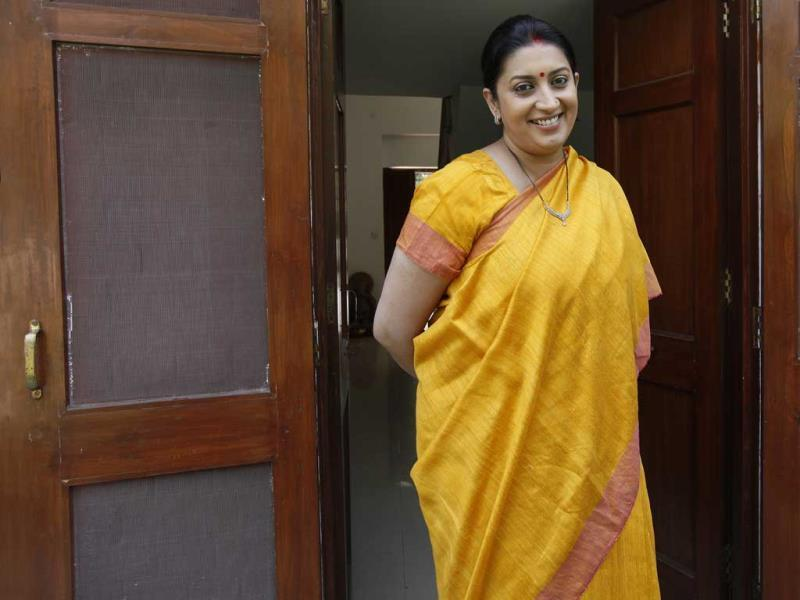 BJP leader Smriti Irani during an interview at her Delhi house. She is the party's candidate against Congress vice-president Rahul Gandhi in Amethi. (Raj K Raj/HT Photo)
