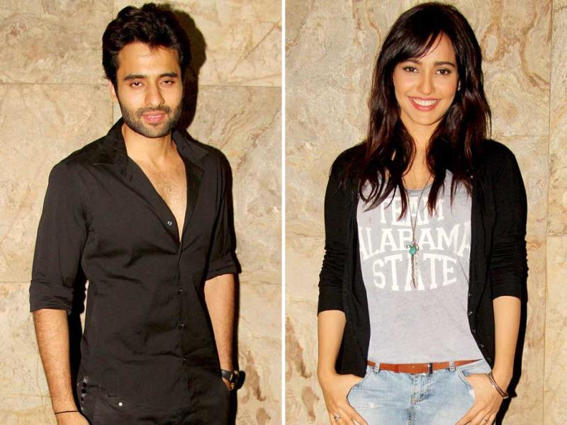 Jackky Bhagnani along with Neha Sharma at the screening in Mumbai.