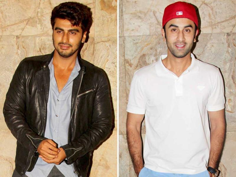 While Arjun Kapoor was seen in a classic biker jacket over smart casuals, Ranbir Kapoor sported smart casuals and a bright red baseball cap.