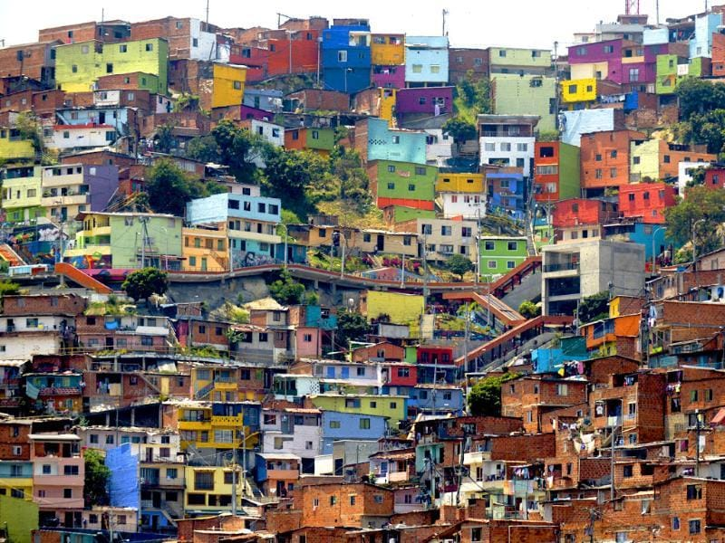 View of Comuna 13 shantytown, one of the poorest areas of Medellin, Antioquia department, Colombia ahead of the World Urban Forum 7, which will take place from April 5 to 11 (AFP Photo)