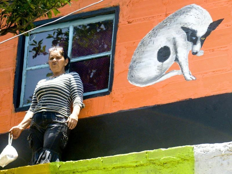 A woman stands in front of a mural, part of the project