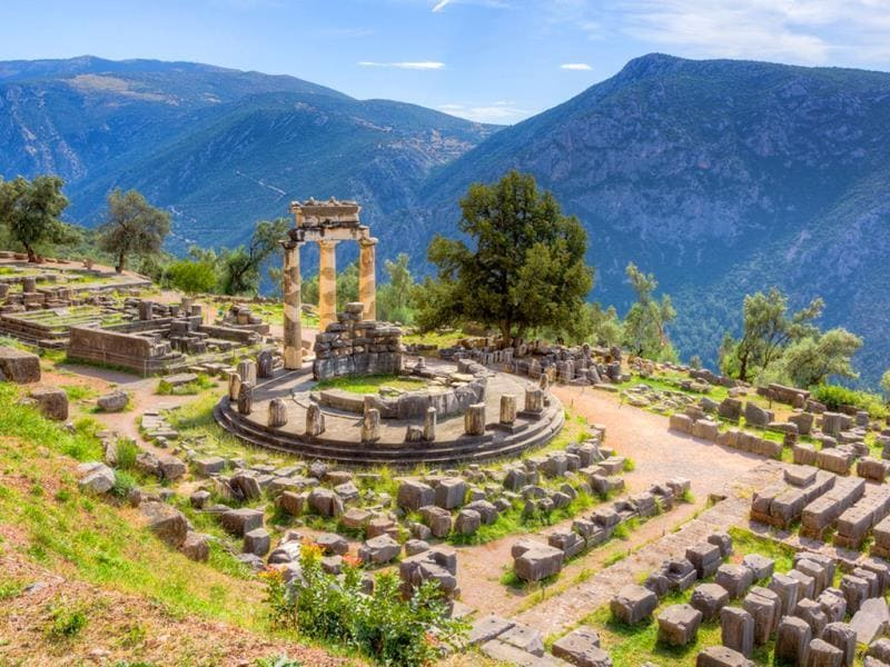 Delphi, Greece: Known as the navel of the world, the archeological site of Delphi is a UNESCO World Heritage Site for having served as the religious center of the ancient Greek world. (AFP)