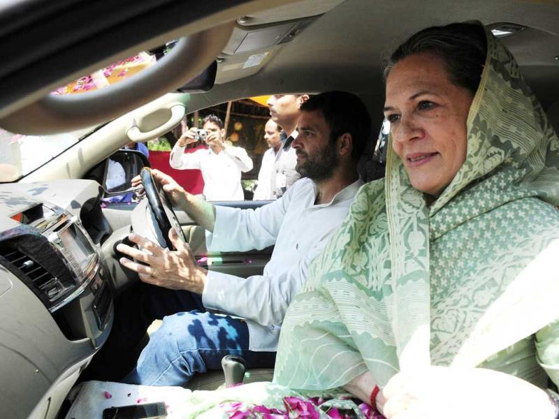 UPA chairperson Sonia Gandhi goes to file her nomination papers accompanied by her Congress vice president Rahul Gandhi. (Deepak Gupta/HT Photo)
