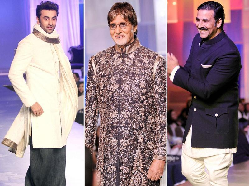 Bollywood came out in full strength in support of a fashion fund raiser called Men for Mijwan for Shabana Azmi's NGO Mijwan Welfare Society. Biggies walked the ramp for Manish Malhotra in support of women's empowerment.Amitabh Bachchan took centrestage sporting a golden embroidered sherwani, while heartthrob Ranbir Kapoor (left) sported a smart cream one. Action man Akshay Kumar was seen in a desi gentleman look. (HT Photo)
