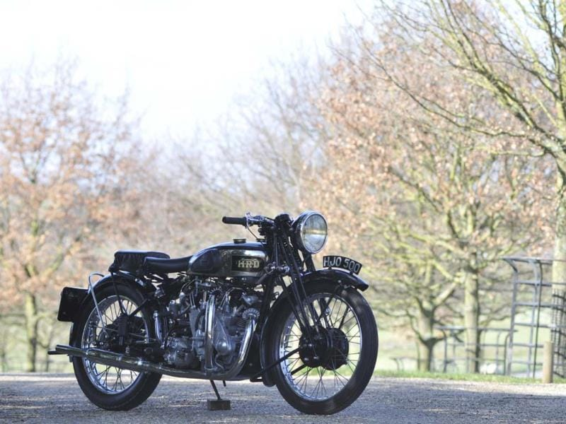 The ex-Brian Verrall,1939 Vincent-HRD 998cc Series-A Rapide : Most people have probably heard of the Vincent Black Shadow, a British motorcycle from the 1950s that invented the concept of the superbike. It's a model in every bike lover's dream garage. But the company behind it, HRD-Vincent, had been creating incredibly innovative, incredibly fast bikes for decades. The Series A Rapide was the first bike with full suspension, had a foot, rather than hand shifter for gear changes, a four-speed gearbox and a phenomenal V-Twin engine that was so powerful it eventually ate through the transmission. Only 78 were ever built, making it as rare as it is desirable and the most collectible bike the company ever built. This one cost £225,500 (€272,441/$363055) at auction in 2012. Photo:AFP