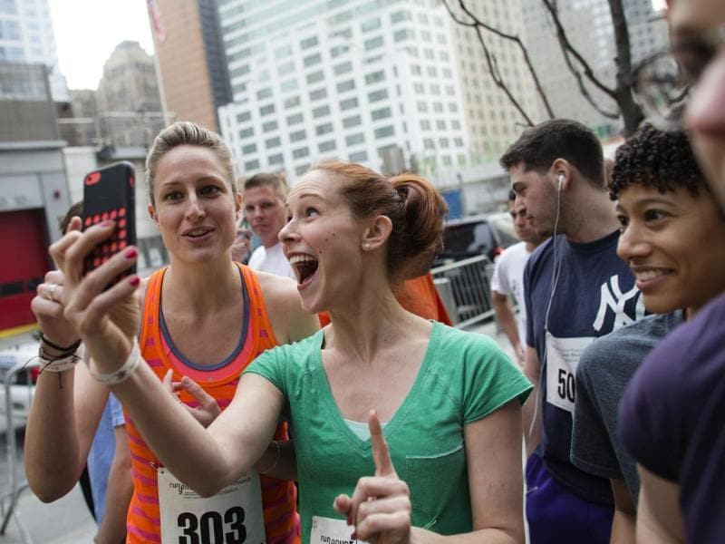 The woo hoo! selfie - These two are prepping to run up the World Trade Centre during