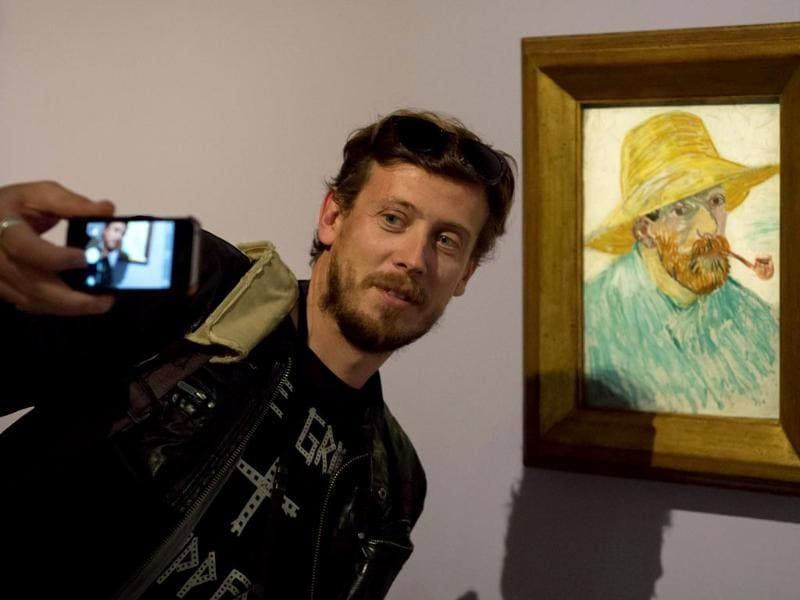 The inception selfie - A selfie, within a selfie, within a selfie. That's Van Gogh's famous self-portrait at an exhibition eerily titled Van Gogh Live. And that's an uncannily similar looking guy taking his version of a self-portrait with it. (AFP Photo)