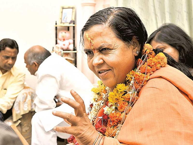 BJP candidate from Jhansi Lok Sabha constituency, Uma Bharti, before file her nomination paper in Jhansi. (Mohd Zakir/HT photo)
