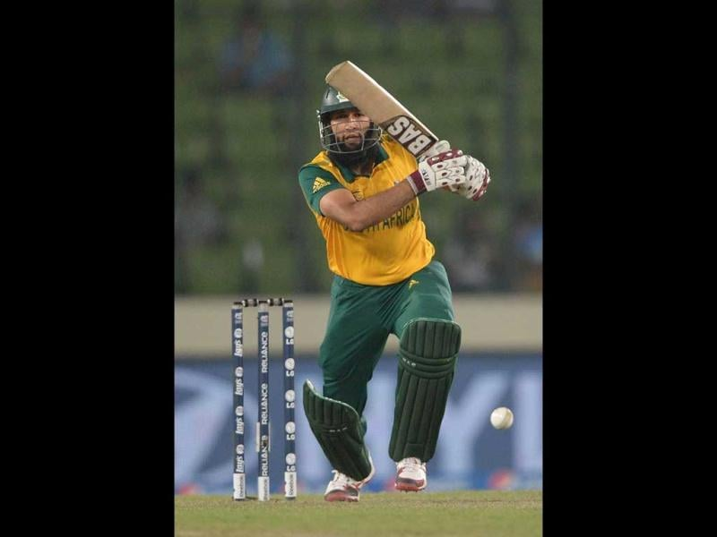 South Africa's Hashim Amla plays a shot during their ICC World Twenty20 match against India at the Sher-e-Bangla National Cricket Stadium in Dhaka. (AFP Photo)