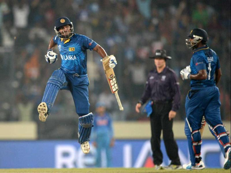 Sri Lanka's Kumar Sangakkara leaps into the air as he celebrates their victory during the ICC World Twenty20 final against India at the Sher-e-Bangla National Cricket Stadium in Dhaka. (AFP Photo)
