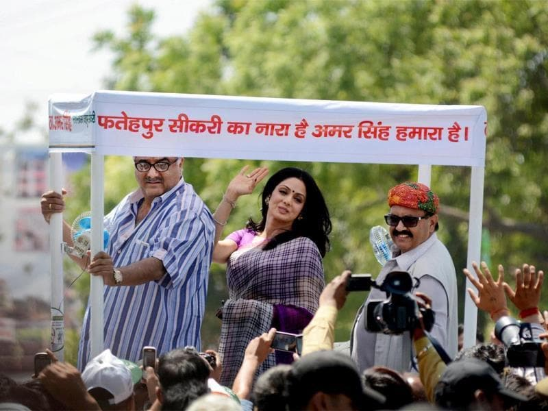 Bollywood actress Sridevi along with husband-director Boney Kapoor campaigning for RLD leader Amar Singh in Fatehpur Sikri. (PTI Photo)