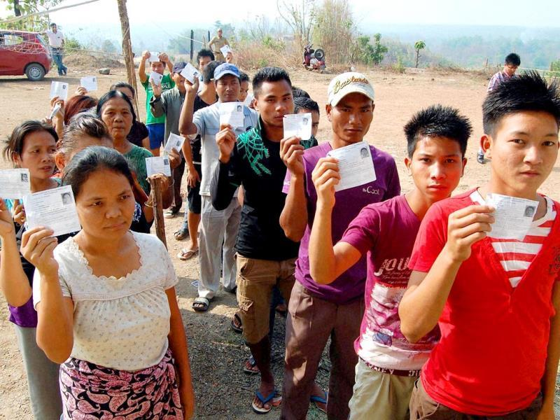 Voters queue up to exercise their franchise at New Lamka in Churachandpur district, Manipur.