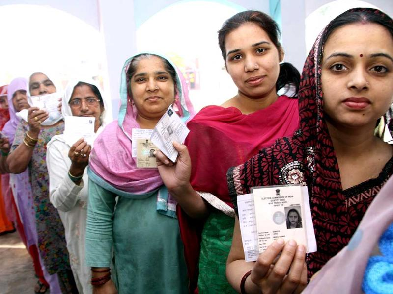 Women queued up for voting at Gandhi camp, Rohtak on Thursday on the polling day. (HT Photo/Manoj Dhaka)