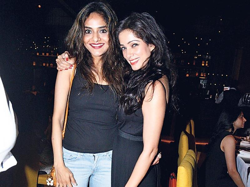 Madhoo Shah with Vidya Malvade at a dinner event in south Mumbai.