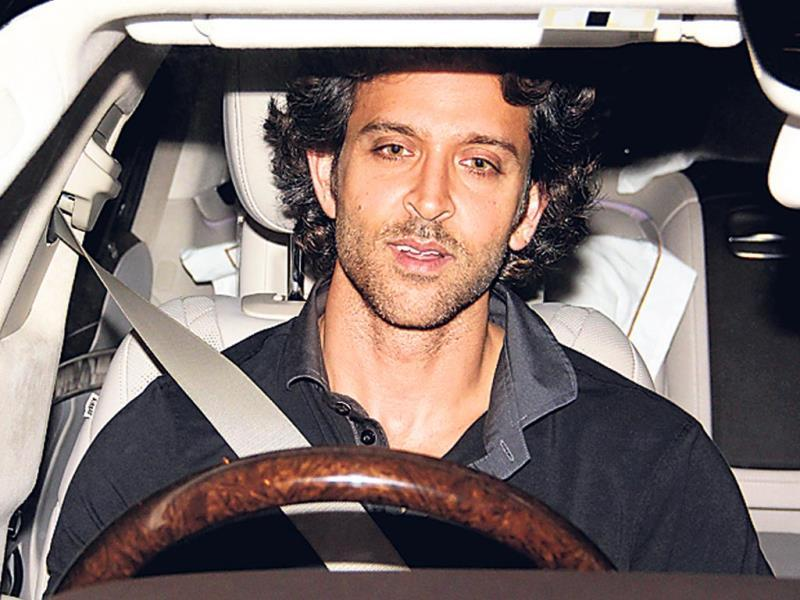 Hrithik Roshan takes his car for a spin at night.
