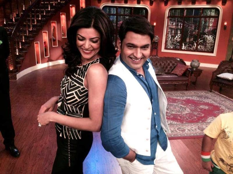 Sushmita Sen and Kapil Sharma on Comedy Nights with Kapil. Sushmita's episode will be aired next weekend.