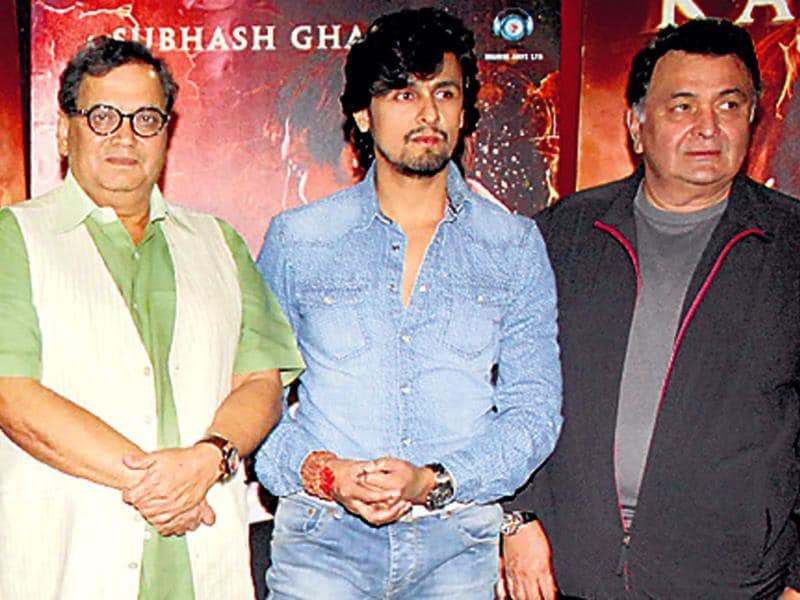 Subhash Ghai, Sonu Nigam and Rishi Kapoor at a promotional event of the upcoming film, Kaanchi: The Unbreakable.