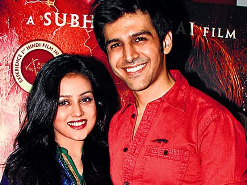 Actors Mishti and Kartik Aaryan at a promotional event of the upcoming film, Kaanchi: The Unbreakable.