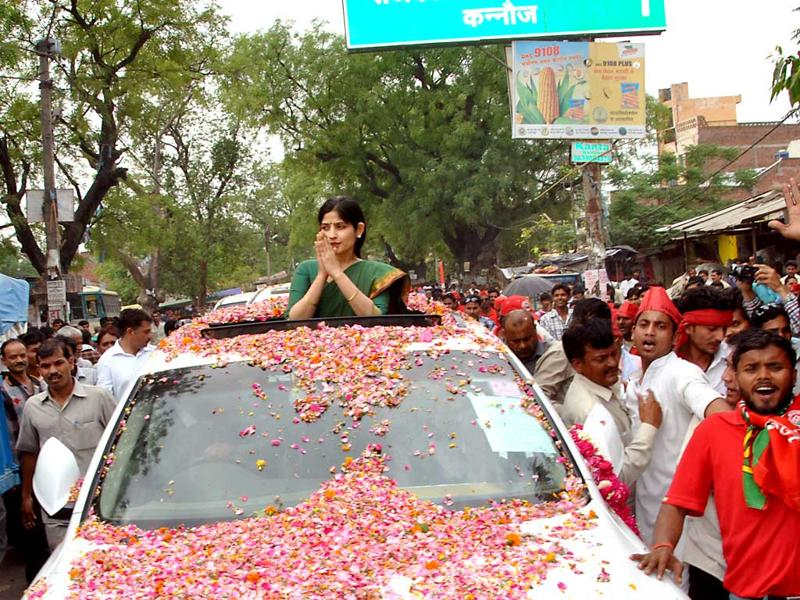 Uttar Pradesh chief minister Akhilesh Yadav's wife and Samajwadi Party MP Dimple Yadav during a roadshow in Kannauj. She had won unopposed from the Kannauj Lok Sabha constituency in a bypoll in 2012. (HT Photo)