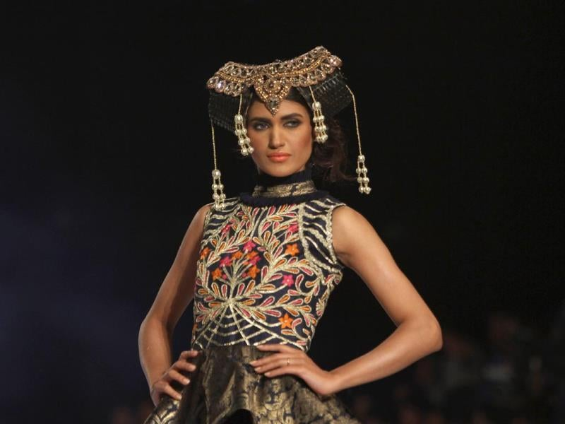 Another creation of designer Akif Mahmood at the fashion show organized by the Pakistan Fashion Designers Council in Lahore. (AP Photo)