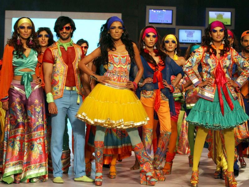 Models display the creations by designer Rizwan Beyg at a fashion show organized by the Pakistan Fashion Designers Council in Lahore, Pakistan. (AP Photo)