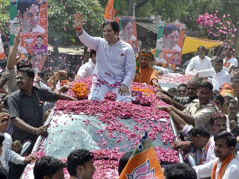 BJP candidate Varun Gandhi during his road show before filing his nomination from Sultanpur constituency. (HT Photo)