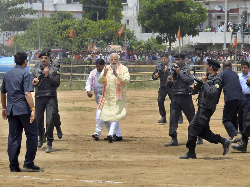 BJP's PM candidate Narendra Modi during an election rally in Hazaribagh. (HT Photo/Rajesh Sinha)