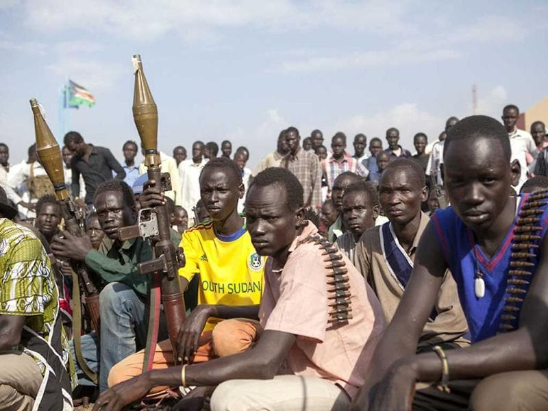 Members of the White Army, a South Sudanese anti-government militia, attend a rally in Nasir. (AFP Photo)