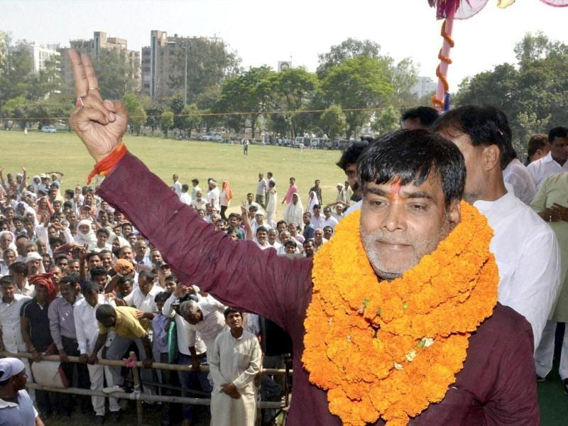 Former RJD MP and BJP candidate Ram Kripal Yadav at an election meeting after filing his nomination papers in Patna. (PTI photo)