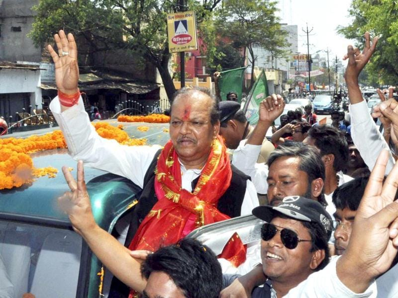 Congress candidate Subodh Kant Sahay with supporters after filing his nomination papers in Ranchi. (PTI Photo)
