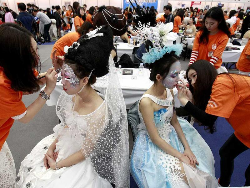 Models get their makeup done during K-Beauty World Fashion Festival in Gwacheon, South Korea. (AP)