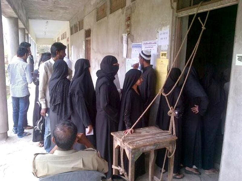 Voting underway at Darbar school, a poll booth in Jaipur. (Photo courtesy: Sachin Saini)