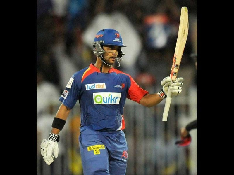 Jean-Paul Duminy of the Delhi Daredevils celebrates after scoring a half century during their match against the Royal Challengers Bangalore in IPL 7 being held at the Sharjah Cricket Stadium in Sharjah. (PTI Photo)