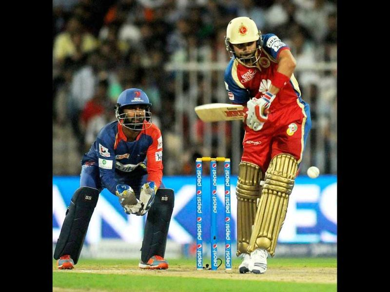 Virat Kohli of Royal Challengers Bangalore bats against Delhi Daredevils during IPL 7 being held at the Sharjah Cricket Stadium in Sharjah. (PTI Photo)