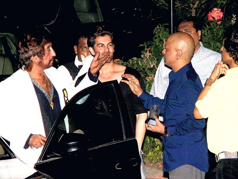 (From left) Shakti Kapoor, Neil Nitin Mukesh and Naved Jaafery at a bash organised by Sanjay Gupta.