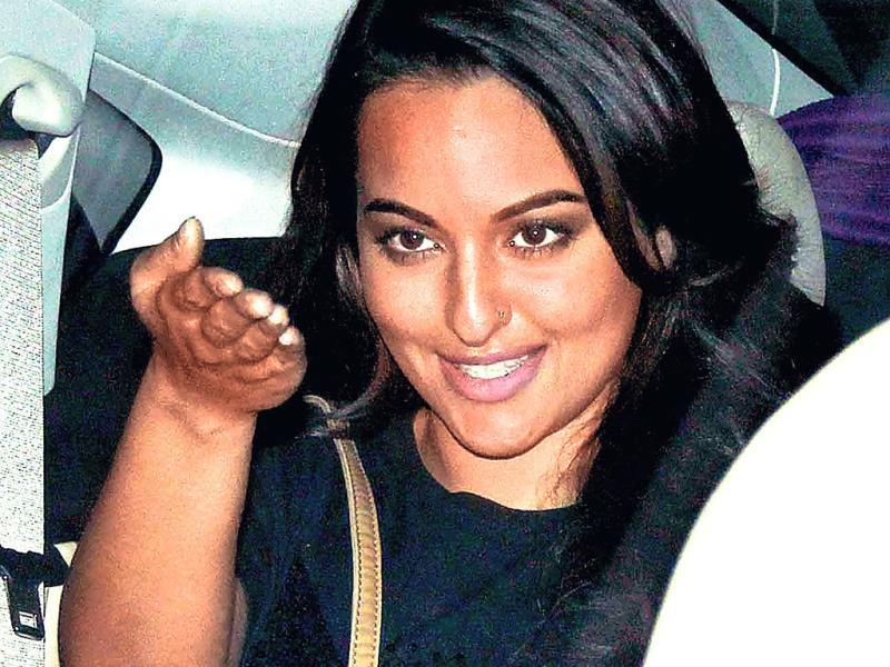Sonakshi Sinha arrives at a movie screening in Mumbai.