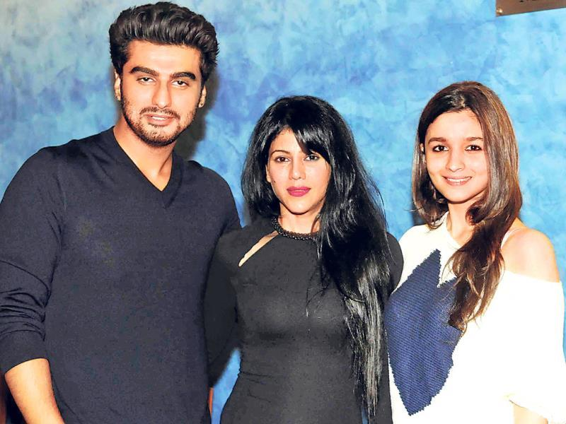 Alia Bhatt and Arjun Kapoor pose with Warda Nadiadwala in Mumbai.