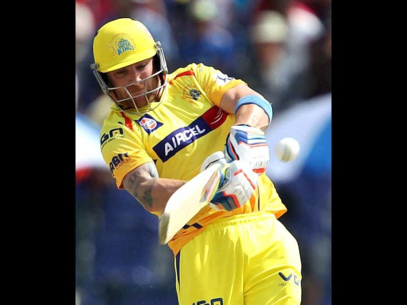 Brendon McCullum of Chennai Super Kings hits a six during their IPL 7 match against Kings XI Punjab at the Al Zayed Cricket Stadium, Abu Dhabi. (PTI Photo)