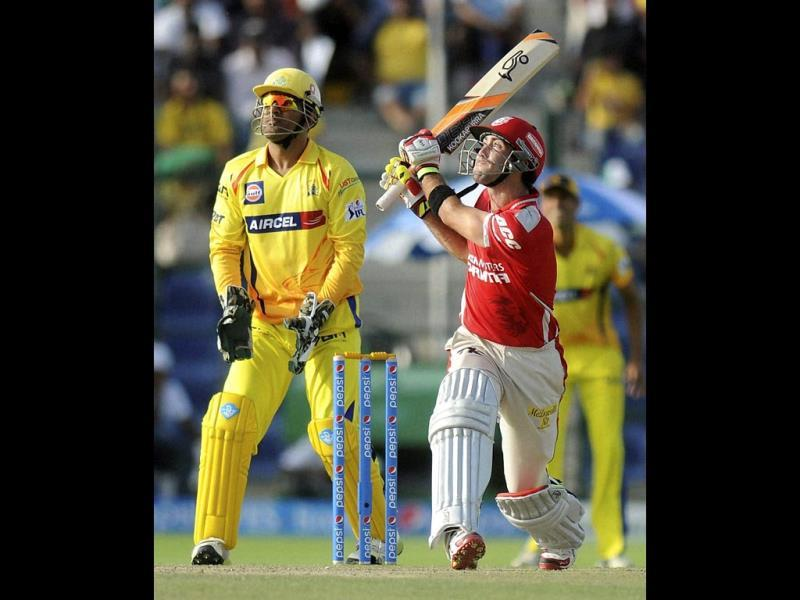 Glenn Maxwell of Kings XI Punjab plays a shot during their IPL 7 match against Chennai Super Kings at the Al Zayed Cricket Stadium, Abu Dhabi. (PTI Photo)