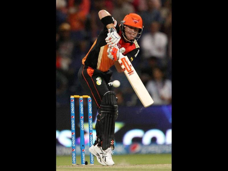 David Warner of Sunrisers Hyderabad bats during their IPL 7 match against Rajasthan Royals in Abu Dhabi. (PTI Photo)