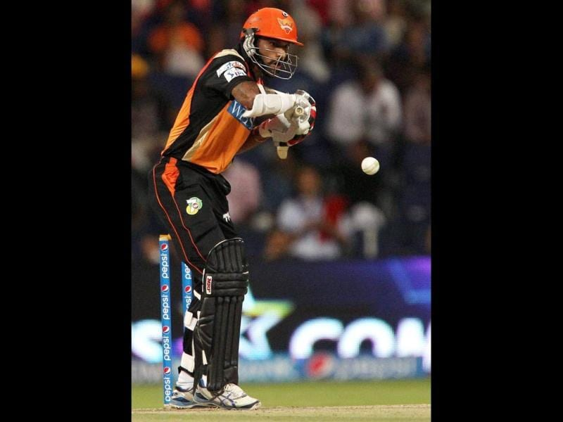 Shikhar Dhawan of Sunrisers Hyderabad bats during their IPL 7 match against Rajasthan Royals in Abu Dhabi. (PTI Photo)