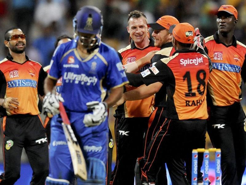 Dale Steyn of Sunrisers Hyderabad celebrates with teammates the wicket of Abhishek Nayar of Rajatshan Royals during their IPL 7 match in Abu Dhabi. (PTI Photo)