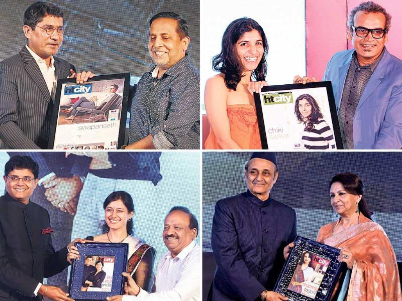 (Clockwise) 1. Publisher Chiki Sarkar gets the award from noted artist Subodh Gupta. 2. Veteran actor Sharmila Tagore receives the Style Legend award from Dr Karan Singh. 3. The Most Stylish Couple Jay and Jagi Panda receiving their award from Dr Harsh Vardhan. 4. Advertising guru Swapan Seth gets the award from ­photographer and jury member Rohit Chawla.