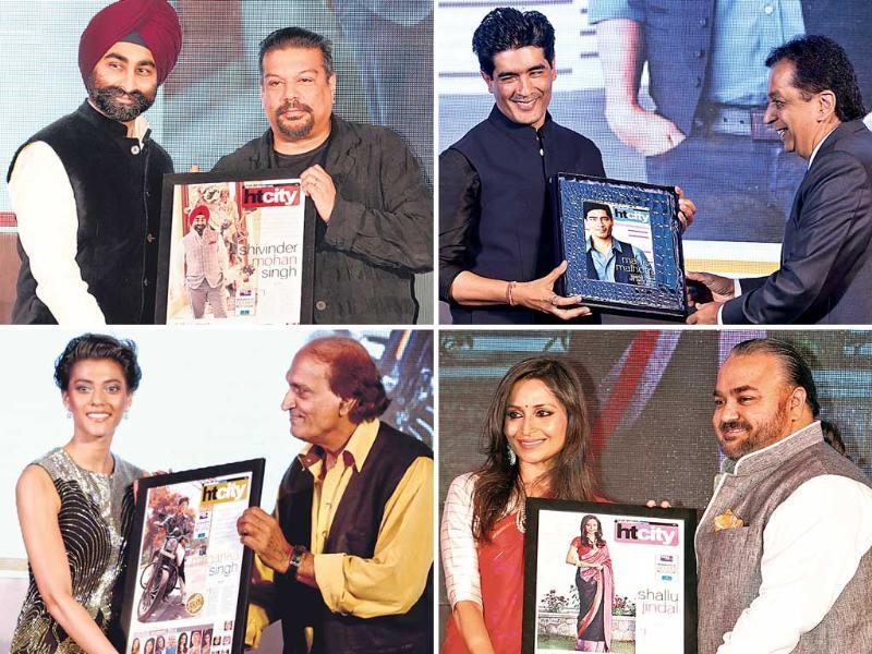 (Clockwise) 1. Designer Manish Malhotra being felicitated by Rajiv Verma, CEO, HT Media Ltd. 2. Princess of the royal family of J&K, Mriganka Singh, ­receives the Youth Icon award from ace photographer Raghu Rai. 3. Danseuse and social activist Shallu Jindal receives the award from designer JJ Valaya. 4. Industrialist Shivinder Mohan Singh receives his award from food critic and HT Advisor Vir Sanghvi.