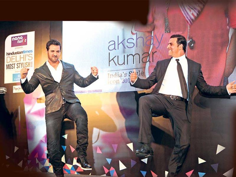 The swishest, swankiest and the most stylish raised a toast to their awards and indulged in tall glasses of wine, fashionable chit-chat and candid conversations at the Delhi's Most Stylish awards on Friday. John Abraham and Akshay Kumar shake a leg after receiving their awards.