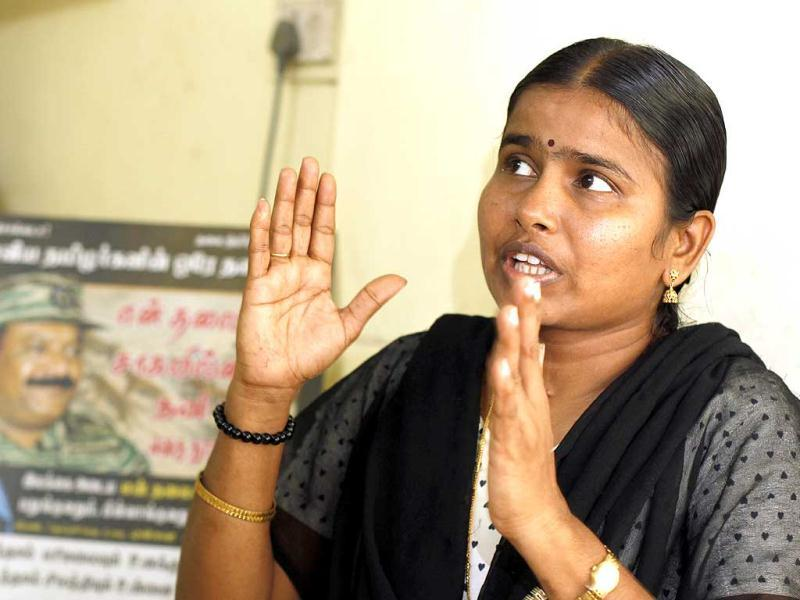Advocate Angyarkanni, who has visited refugee camps in Sri Lanka, (she met Prabhakaran's mother there, a month before she died), says FIRs at special camps are based on no prima facie evidence. (HT photo/Sanjeev Verma)