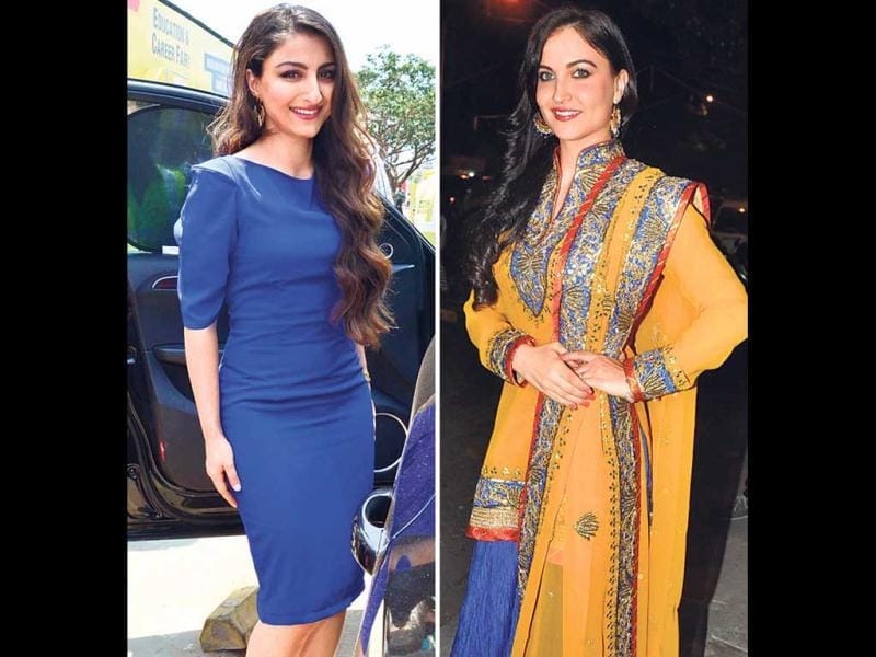 Going blue: Soha Ali Khan, who is dressed for the occasion, was seen leaving a fair at Bandra-Kurla Complex (left); Elli Avram, dressed in a bright ghagra choli, was photographed in Khar as she was entering an event. (HT Photo)