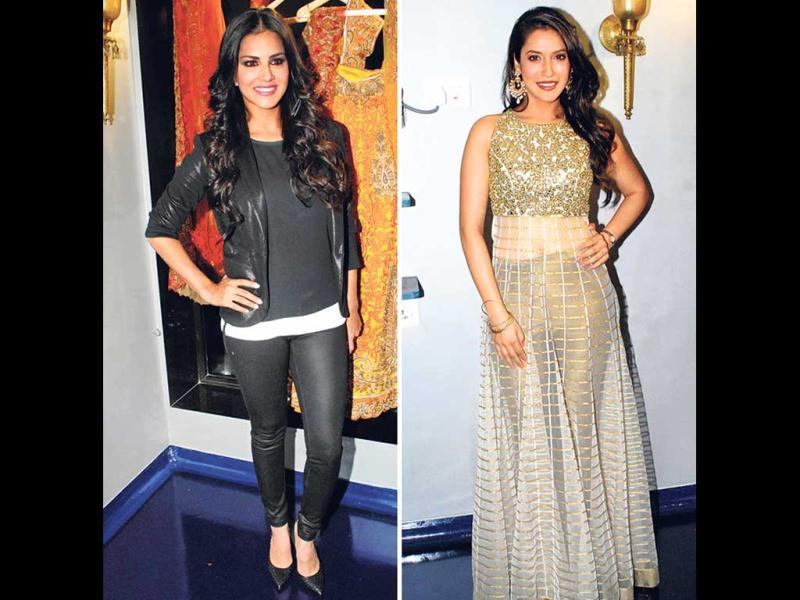 Sunny Leone (left) and Rashmi Nigam (right) at an event. (HT Photo)