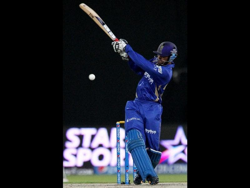 Abhishek Nayar of Rajatshan Royals plays a shot during their IPL 7 match against Kings XI Punjab in Sharjah. (PTI Photo)