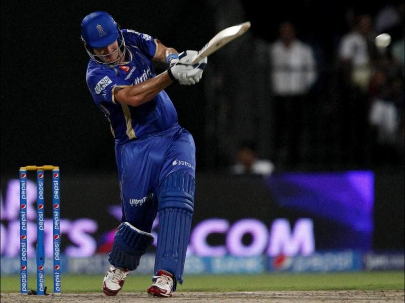 Shane Watson of Rajatshan Royals plays a shot during their IPL 7 match against Kings XI Punjab in Sharjah. (PTI Photo)